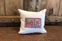 Cushion made using vintage french linen and antique embriodery